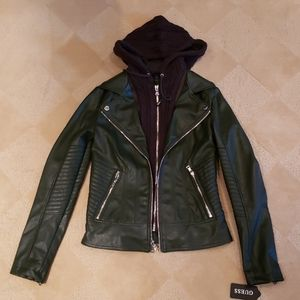 Guess Faux Leather Moto Jacket/Cable Knit Hood